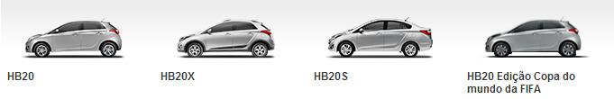 Versões Hyundai HB20, HB20X, HB20S, HB20 Edição Copa do Mundo FIFA