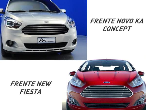 Comparativo - Frente Novo Ka 2015 e New Fiesta