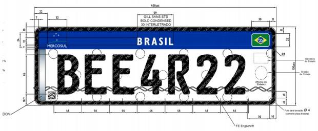 Nova placa para carros Brasil Mercosul