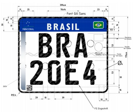 Nova placa para motos Brasil Mercosul